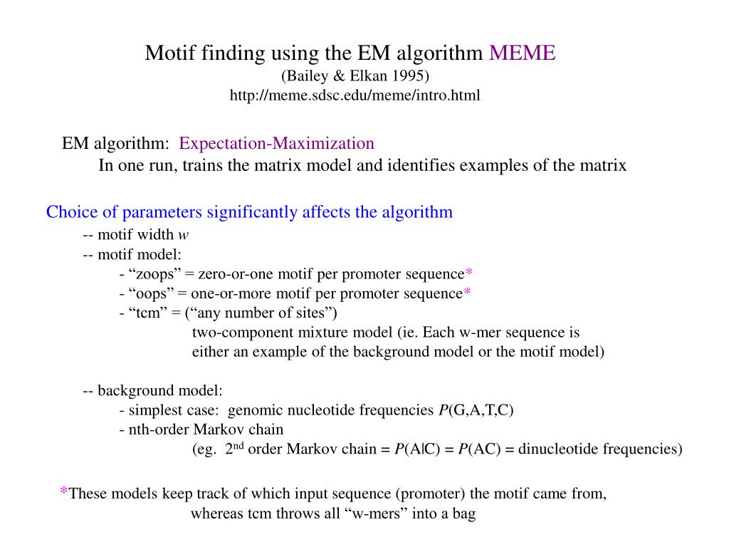Motif finding using the EM algorithm