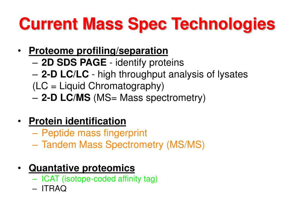 Current Mass Spec Technologies
