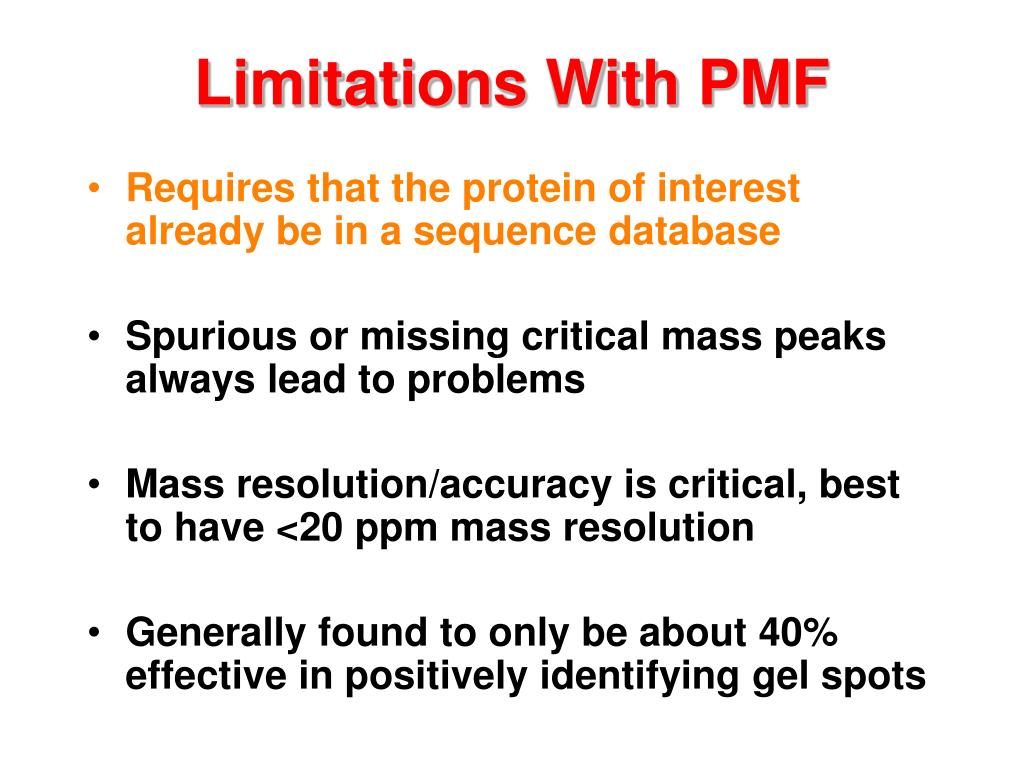 Limitations With PMF
