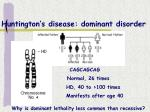 huntington s disease dominant disorder