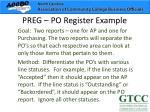preg po register example