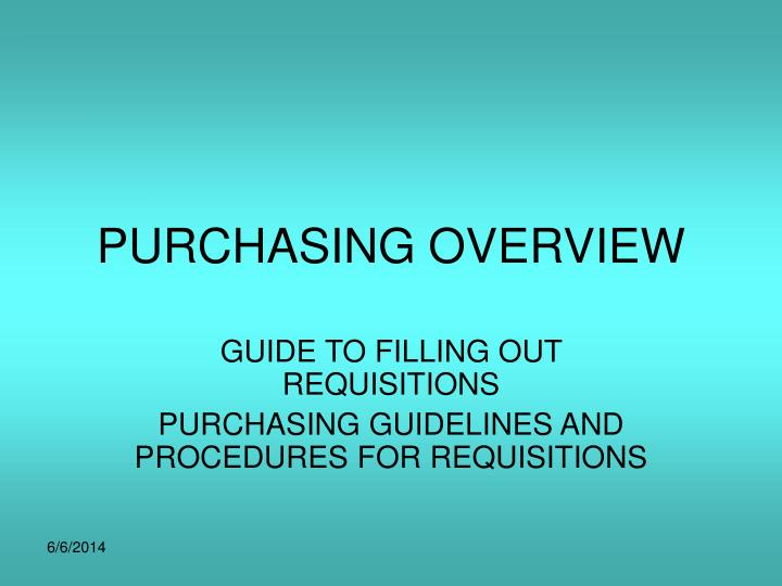 purchasing overview n.
