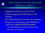 value delivered by the exposure response analysis