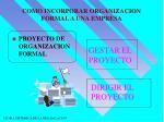 como incorporar organizacion formal a una empresa