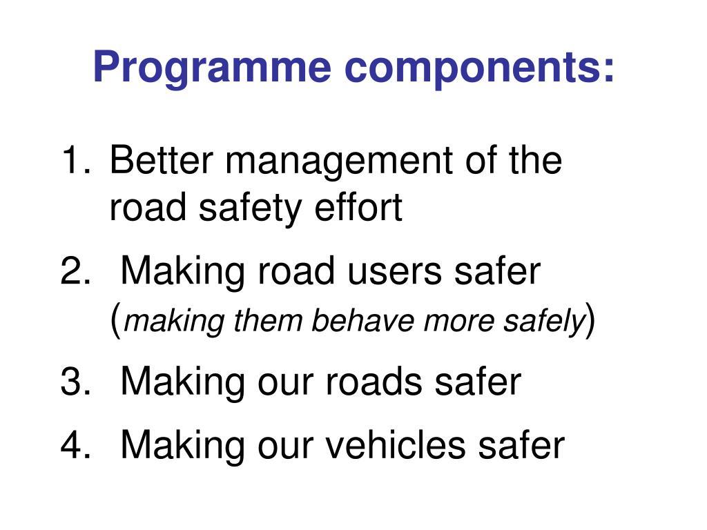 Programme components: