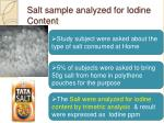 salt sample analyzed for iodine content