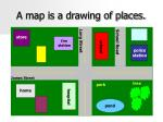 a map is a drawing of places