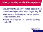 laws governing incident management