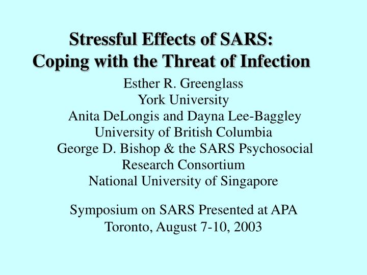 stressful effects of sars coping with the threat of infection n.