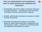how can administrative and institutional rules for doing business be simplified and improved