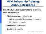 mfm fellowship training abog s response