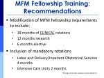 mfm fellowship training recommendations