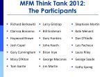 mfm think tank 2012 the participants1