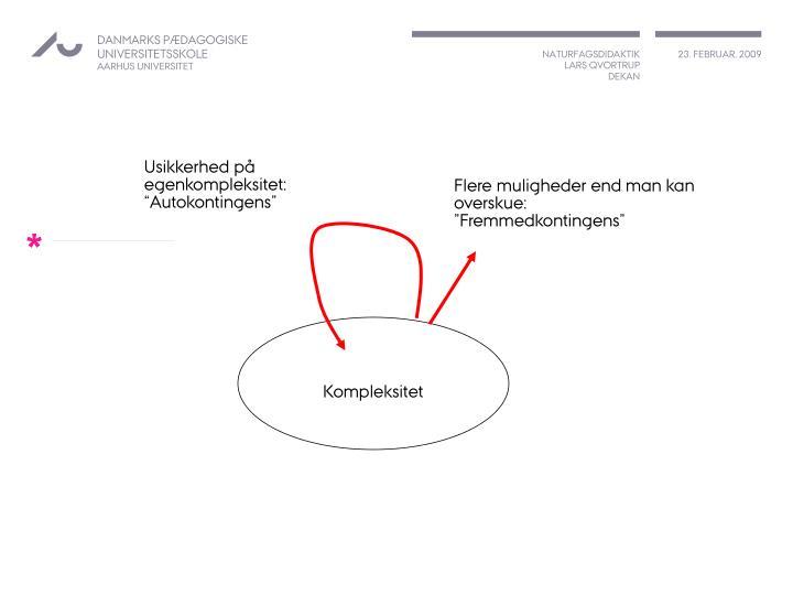 """Usikkerhed på egenkompleksitet: """"Autokontingens"""""""