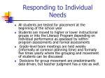 responding to individual needs