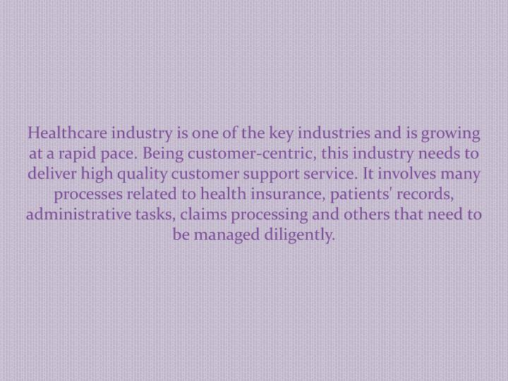Healthcare industry is one of the key industries and is growing at a rapid pace. Being customer-cent...