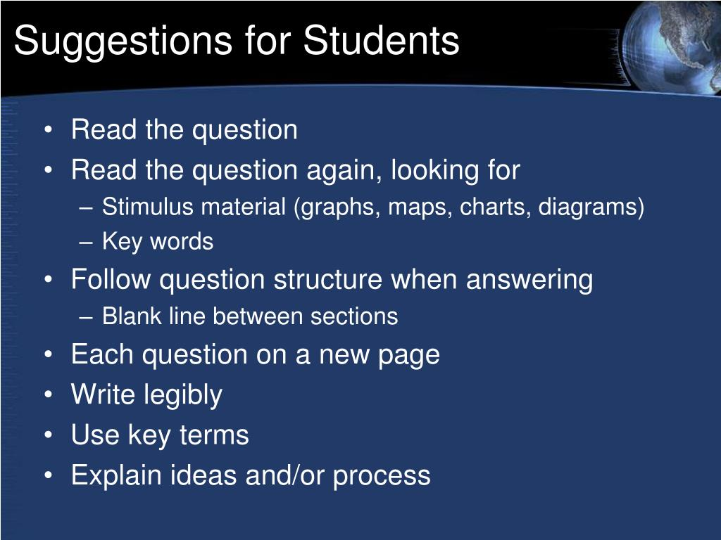 Suggestions for Students