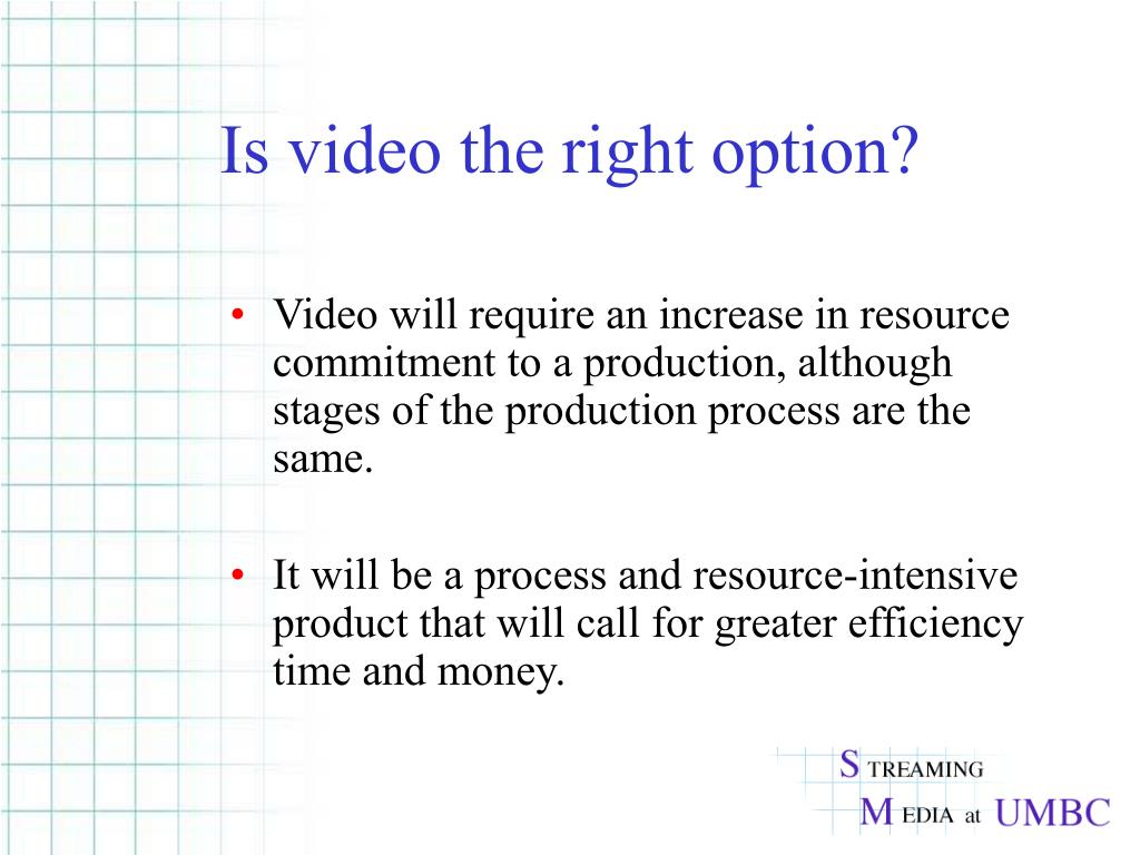 Is video the right option?