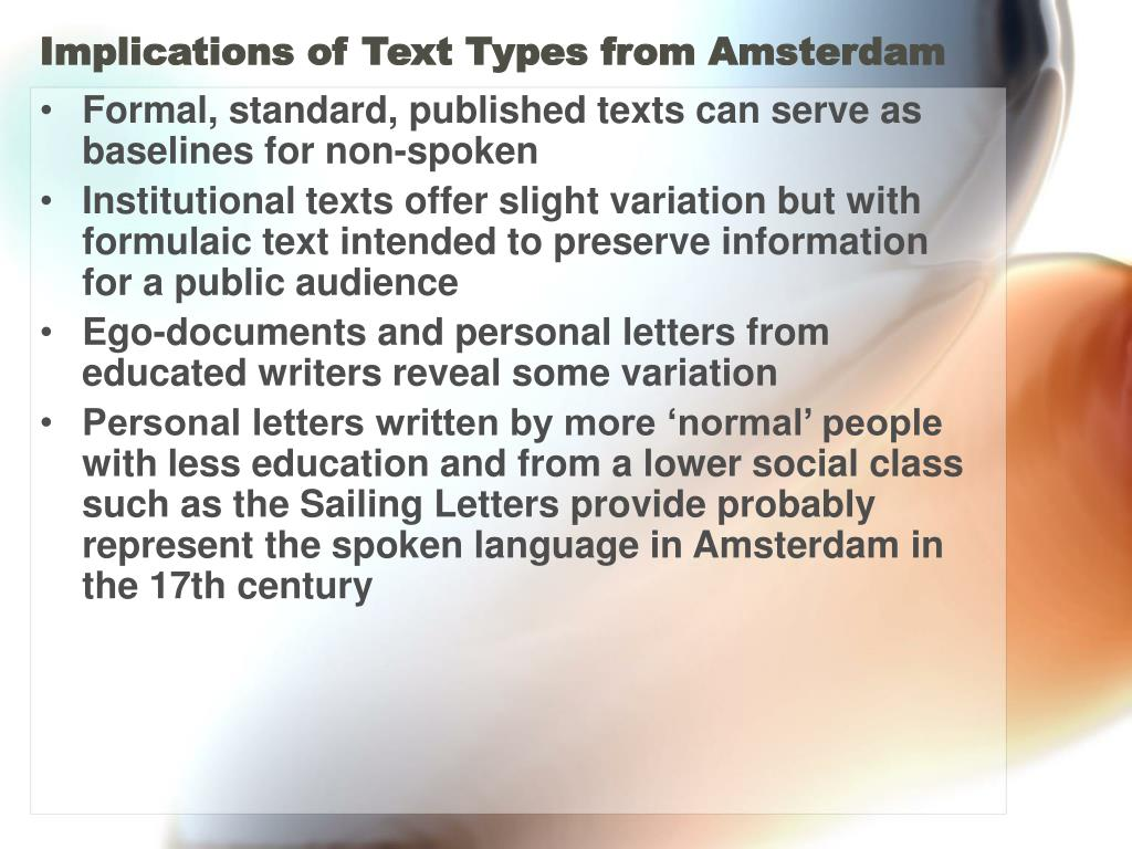 Implications of Text Types from Amsterdam