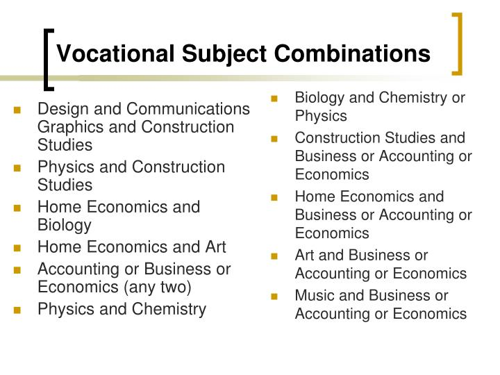 Vocational subject combinations