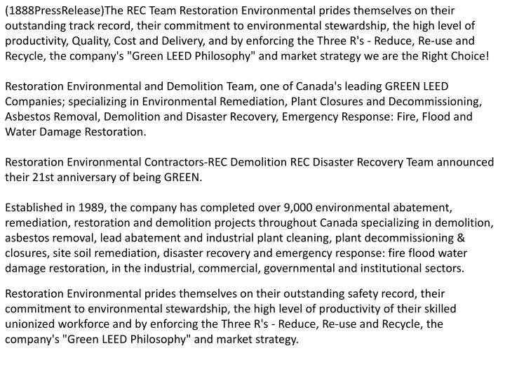 (1888PressRelease)The REC Team Restoration Environmental prides themselves on their outstanding trac...