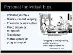 personal individual blog