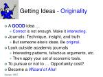 getting ideas originality