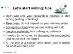 let s start writing tips