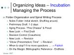 organizing ideas incubation managing the process
