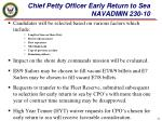chief petty officer early return to sea navadmin 230 101