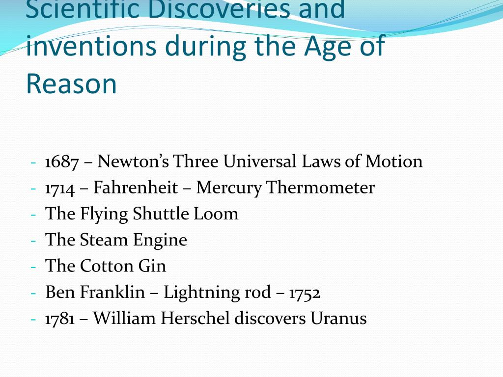Scientific Discoveries and inventions during the Age of Reason