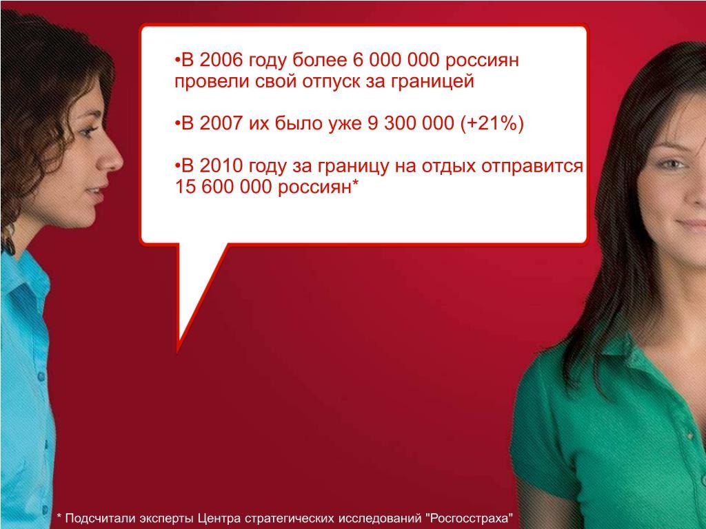 В 2006 году более 6 000 000 россиян провели свой отпуск за границей
