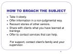 how to broach the subject