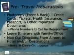 pre travel preparations