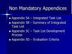 non mandatory appendices