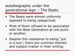 autobiography under the generational sign the beats