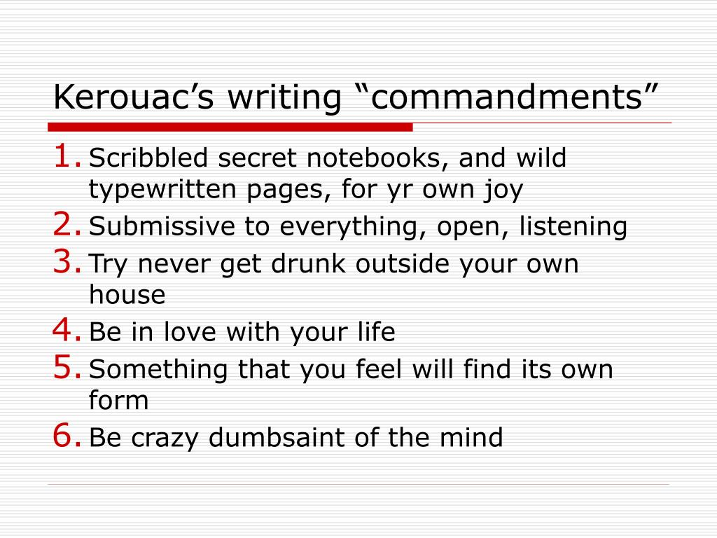 "Kerouac's writing ""commandments"""