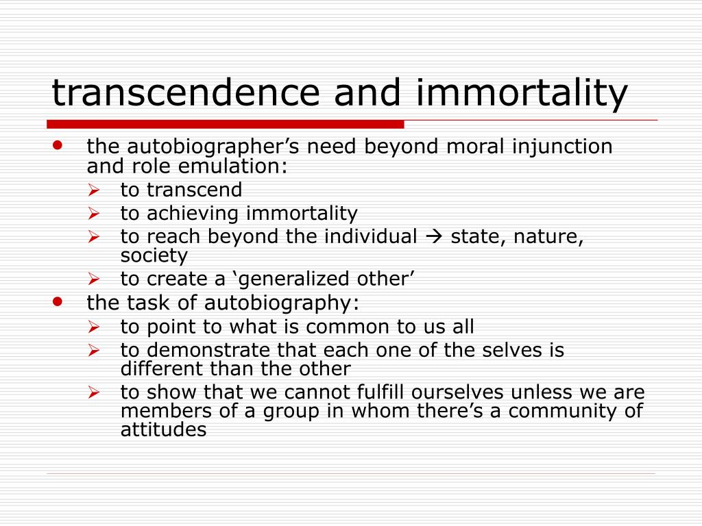 transcendence and immortality