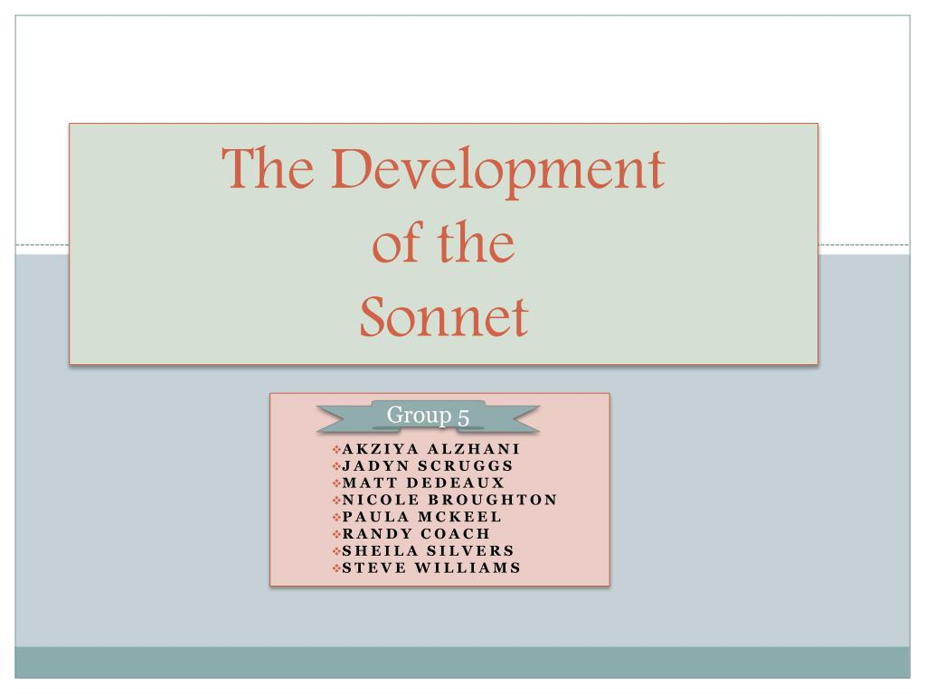 the development of the sonnet l.