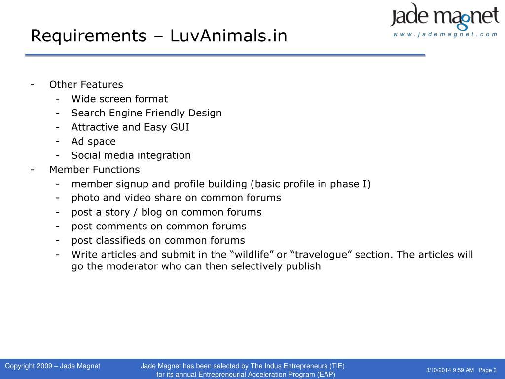 Requirements – LuvAnimals.in