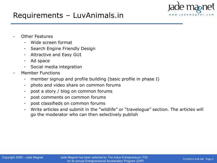 Requirements luvanimals in3