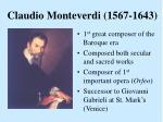 claudio monteverdi 1567 1643