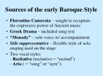 sources of the early baroque style