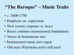 the baroque music traits