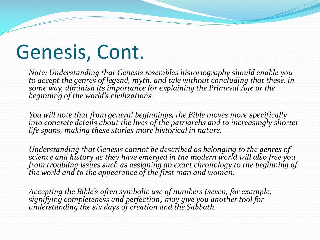Genesis, Cont.