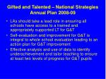 gifted and talented national strategies annual plan 2008 09