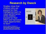 research by dweck