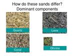how do these sands differ dominant components