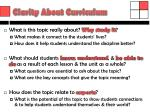 clarity about curriculum