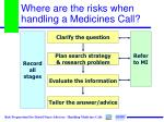 where are the risks when handling a medicines call